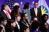 United States President Barack Obama and First Lady Michelle Obama attend the groundbreaking ceremony of the Smithsonian National Museum of African American History and Culture in Washington, D.C. on Wednesday, February 22, 2012. The museum is scheduled to open in 2015 and will be the only national museum devoted exclusively to the documentation of African American life, art, history and culture. .Credit: Andrew Harrer / Pool via CNP