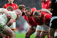Ken Owens of Wales looks on at a scrum. RBS Six Nations match between England and Wales on March 12, 2016 at Twickenham Stadium in London, England. Photo by: Patrick Khachfe / Onside Images