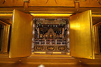 "The Konjikido (""Golden Hall"") buddhist repository at Chusonji temple, Hiraizumi, Japan, 28 August 2008. The temple was founded in 850. Hiraizumi in Northern Japan flourished as the seat of the Oshu Fujiwara clan for around 100 years from the end of the 12th century. The city was built to be an earthly recreation of the Buddhist ""Pure Land"" or Nirvana."