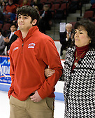Patrick Walsh (BU - Manager) and his mother - The Boston University Terriers honored their four seniors following their final game of the regular season on Saturday, March 5, 2011, at Agganis Arena in Boston, Massachusetts.