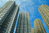 Skyscrapers apartment blocks and office buildings, Hong Kong.