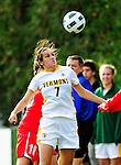 14 October 2010: University of Vermont Catamount forward Jessica Becker, a Senior from Woodbridge, CT, in action against the University of Hartford Hawks at Centennial Field in Burlington, Vermont. The Hawks defeated the Lady Cats 6-2 in America East play. Mandatory Credit: Ed Wolfstein Photo