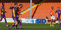 Blackpool's Neil Danns scores his sides third goal <br /> <br /> Photographer Alex Dodd/CameraSport<br /> <br /> The EFL Sky Bet League Two - Blackpool v Cheltenham Town - Saturday 22nd April 2017 - Bloomfield Road - Blackpool<br /> <br /> World Copyright &copy; 2017 CameraSport. All rights reserved. 43 Linden Ave. Countesthorpe. Leicester. England. LE8 5PG - Tel: +44 (0) 116 277 4147 - admin@camerasport.com - www.camerasport.com