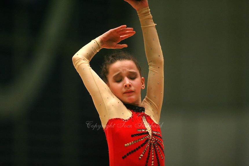 Monica Mincheva of Bulgaria expresses with ball at Burgas Grand Prix Rhythmic Gymnastics on May 6, 2006.   (Photo by Tom Theobald)