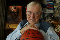 bish.1205.mgk1.jpg 12/04/02<br /> photo by Michael Kitada / The Orange County Register<br /> John Wooden, 92, in his Encino home, will be in attendance this weekend at the 9th Annual John R. Wooden Classic at the Anaheim Pond.