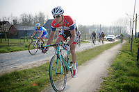 Johnny Hoogerland (NLD/AndroniGiocattoli-Venezuela) shoosing the gravel bike-path instaed of the cobbles<br /> <br /> 57th E3 Harelbeke 2014