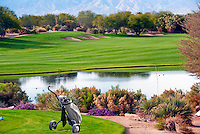 Golf Course, no one tee box over water, Hand Cart, Fairway, Sand, Bunker, Golfing, Links, Trees, rolling fairways, beautiful, natural, Greens, Sand Trap, Water, Lake,