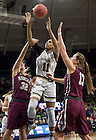 Mar. 20, 2015; Brianna Turner takes a shot against Montana in the first round of the NCAA Tournament at the Purcell Pavilion. Notre Dame defeated Montana 77 to 43. Photo by Barbara Johnston/University of Notre Dame)