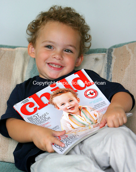 PLYMOUTH, CT. 24 August 2006--092406SV03--Jacques Caron, 2, of Plymouth is on the cover of Child magazine. His mom entered him into a contest that landed him on the cover.<br /> Steven Valenti Republican-American