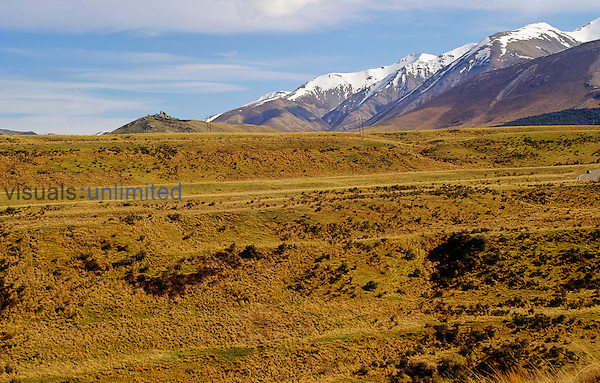 At least seven river terraces are seen looking across the Cave Stream valley, east of Arthur's Pass, Inland Canterbury, New Zealand.
