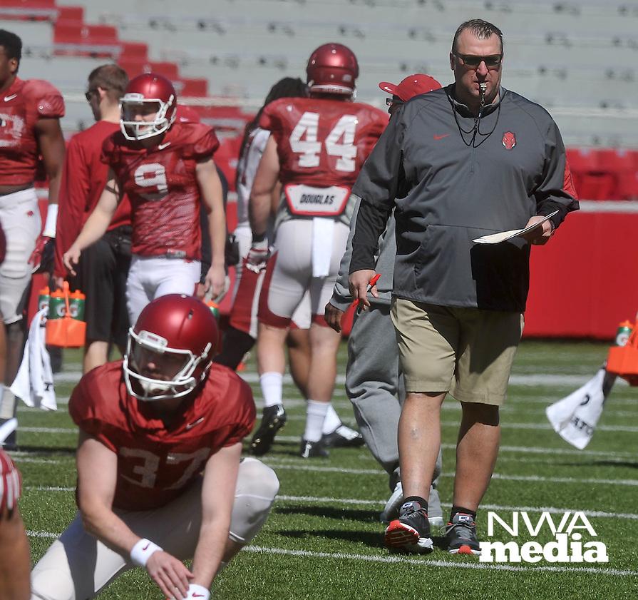 NWA Democrat-Gazette/MICHAEL WOODS &bull; @NWAMICHAELW<br /> University of Arkansas coach Bret Bielema watches his team run drills during practice Saturday April 2, 2016, at Razorback Stadium.