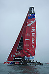 Emirates Team New Zealand's AC72 is sailed for the first time in the Hauraki Gulf. 31/7/2012