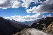 A truck carries goods on the Leh-Manali highway