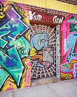 Graffiti type artwork on the side of a building in the Bushwick neighborhood of Brooklyn in New York on Saturday, April 19, 2014. The neighborhood is undergoing gentrification changing from a rough and tumble mix of Hispanic and industrial to a haven for hipsters, forcing many of the long-time residents out because of rising rents.. (©Richard B. Levine)