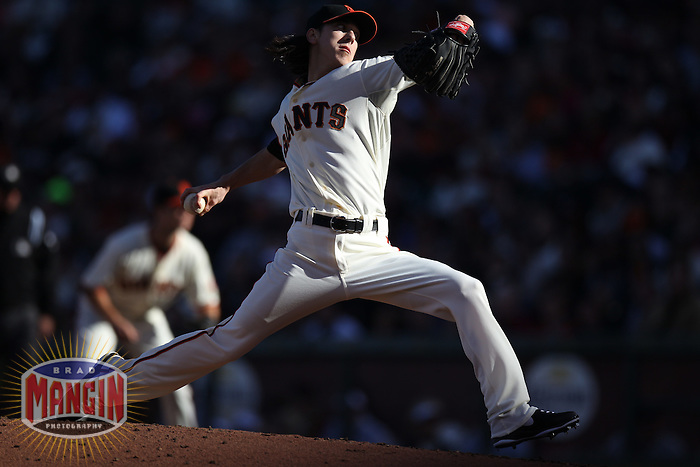 SAN FRANCISCO, CA - AUGUST 26:  Tim Lincecum #55 of the San Francisco Giants pitches against the Atlanta Braves during the game at AT&T Park on Sunday, August 26, 2012 in San Francisco, California. Photo by Brad Mangin