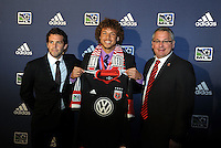 Nick DeLeon 7th pick of first round by DC Utd,with coaching and management team... The 2012 MLS Superdraft was held on January 12, 2012 at The Kansas City Convention Center, Kansas City, MO.