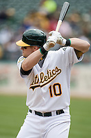 6 April 2008: A's #10 Daric Barton is seen at bat during the Cleveland Indians 2-1 victory over the Oakland Athletics at the McAfee Coliseum in Oakland, CA.
