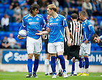 St Johnstone v Dunfermline... 13.08.11   SPL Week 4.Fran Sandaza and Liam Craig argues over who is taking the penalty.Picture by Graeme Hart..Copyright Perthshire Picture Agency.Tel: 01738 623350  Mobile: 07990 594431