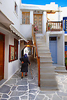 Narrow streets of Naxos town. Greek Cyclades Islands Greece