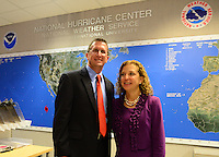 MIAMI, FL - JUNE 01: Rick Knabb, Ph.D., director, NOAA National Hurricane Center and Debbie Wasserman Schultz U.S. Representative (FL-23) attend the start of hurricane season news conference at NOAA's National Hurricane Center on June 01, 2015 in Miami Beach, Florida. Credit: MPI10 / MediaPunch