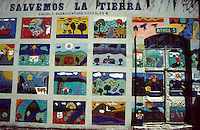 """Children's art display entitled """"Let's Save the Earth"""" on the wall of Escuela Buenaventura Corrales B. school in San Jose, Costa Rica"""