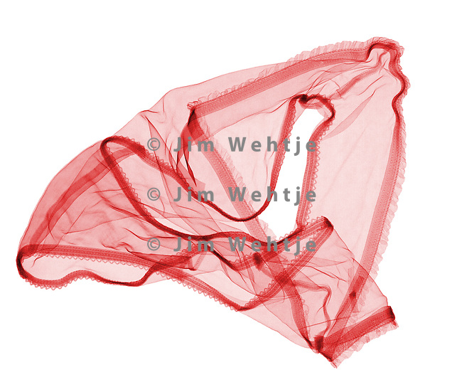 X-ray image of panties (red on white) by Jim Wehtje, specialist in x-ray art and design images.