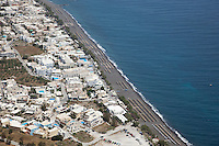 The coastal village of Kamari on Santorini, Greece