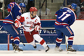 Scott Wilson (UML - 23), Wade Megan (BU - 18), Stephen Buco (UML - 11) - The visiting University of Massachusetts Lowell River Hawks defeated the Boston University Terriers 3-0 on Friday, February 22, 2013, at Agganis Arena in Boston, Massachusetts.