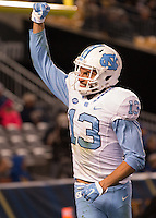 North Carolina wide receiver Mack Hollins celebrates his 32-yard touchdown catch. The North Carolina Tar Heels football team defeated the Pitt Panthers 26-19 on Thursday, October 29, 2015 at Heinz Field, Pittsburgh, Pennsylvania.
