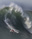 A huge waves take out a surfer in the final round of the Mavericks competition in Half Moon Bay, California.
