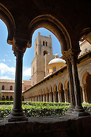 Cloisters with decorated coloumns of Monreale Cathedral - Palermo - Sicily Pictures, photos, images & fotos photography