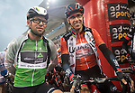 Green Jersey Mark Cavendish (GBR) Dimension Data and race leader Red Jersey Rui Coata (POR) UAE Abu Dhabi team before the start of Stage 4 Yas Island Stage of the 2017 Abu Dhabi Tour, 143km with 26 laps of 5.5km of the Yas Marina Circuit, Abu Dhabi. 26th February 2017.<br /> Picture: ANSA/Claudio Peri | Newsfile<br /> <br /> <br /> All photos usage must carry mandatory copyright credit (&copy; Newsfile | ANSA)