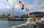Santa Cruz de Tenerife harbour with the city and mountain background. Santa Cruz, Tenerife, Canary Islands.