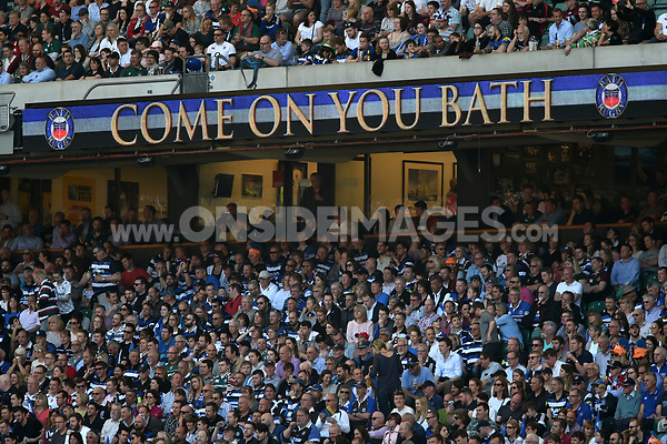 A general view of Bath Rugby branding on the middle tier LED boards. The Clash, Aviva Premiership match, between Bath Rugby and Leicester Tigers on April 8, 2017 at Twickenham Stadium in London, England. Photo by: Patrick Khachfe / Onside Images