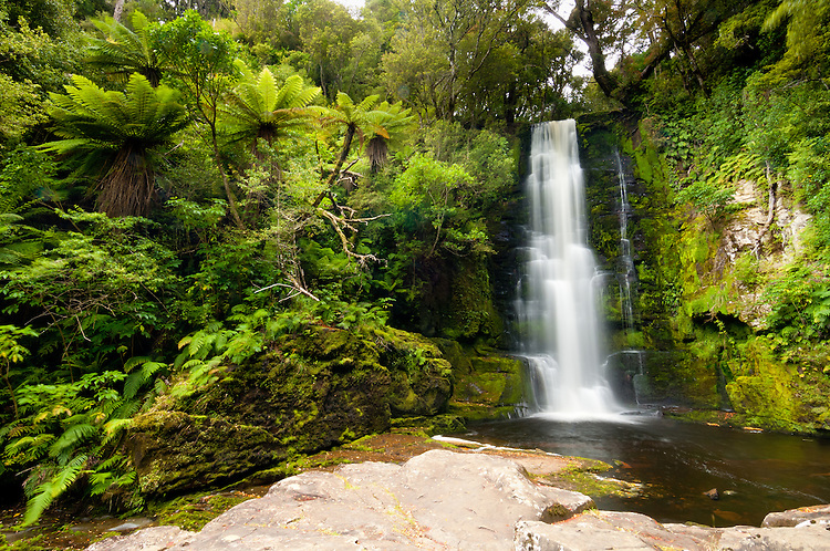 McLean Falls in the Catlins Forest Park in Otago NZ - stock photo, canvas, fine art print