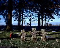 Graves in the World War I German war cemetery at Langemark near Ypres.
