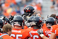 Sept. 3, 2011 - Charlottesville, Virginia - USA; The Virginia Cavaliers huddle during an NCAA football game against William & Mary at Scott Stadium. Virginia won 40-3. (Credit Image: © Andrew Shurtleff