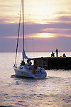 Sailboat in the Evening and Pier Bayfield Ontario Canada