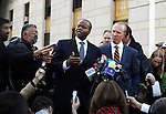 Kenneth P. Thompson  lawyer for Nafissatou Diallo, the Manhattan maid who accused Dominique Strauss-Kahn of sexual assault, speak to the media after the civil case with Nafissatou Diallo in New York, United States. 22/03/2012.  Photo by Kena Betancur / VIEWpress.
