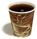 small cup of coffee in a to go cup
