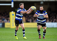 Rhys Priestland of Bath Rugby receives the ball. Aviva Premiership match, between Bath Rugby and Harlequins on February 18, 2017 at the Recreation Ground in Bath, England. Photo by: Patrick Khachfe / Onside Images