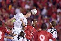 USA's Brian McBride clears a head ball against.Panama in the second half in Panama City, Panama, Wednesday, June 8, 2005. The USA won 3-0.