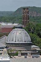 Woolsey Hall Dome, Power Plant Stack and Skyline. Yale University with West Rock in Distance. New Haven CT