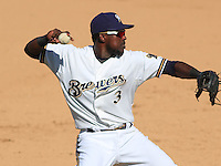 MARYVALE - March 2015: Elian Herrera of the Milwaukee Brewers during a spring training game against the Seattle Mariners on March 26th, 2015 at Maryvale Baseball Park in Mesa, Arizona. (Photo Credit: Brad Krause)