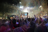 Tens of thousands of people pack downtown Austin for the New Year's Celebration and ball drop on 6th Street in Austin, Texas.