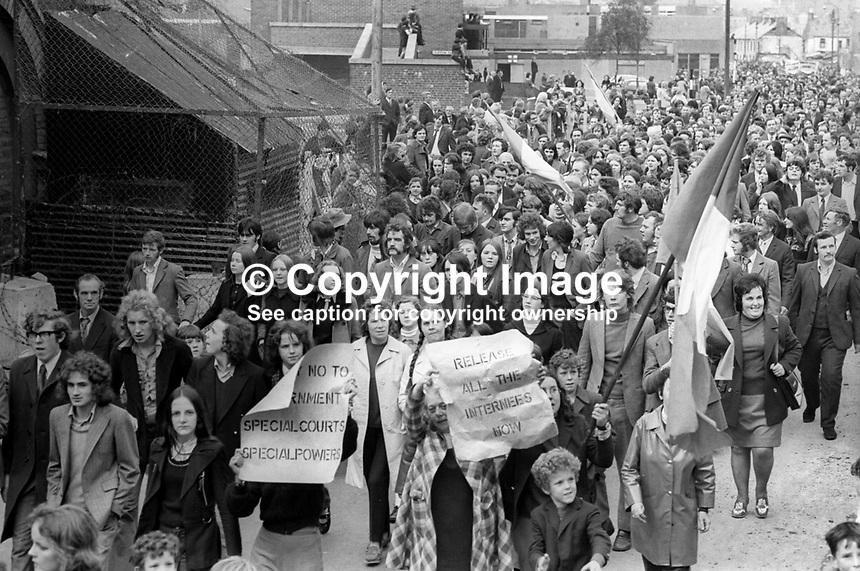March passing through the Bogside  commemorates the fourth anniversary of the first Civil Rights March in Londonderry on 5th October 1968 which was banned by the then N Ireland Minister of Home Affairs, William Craig. 8th October 1972. 197210080613a<br /> <br /> Copyright Image from Victor Patterson, 54 Dorchester Park, Belfast, UK, BT9 6RJ<br /> <br /> t1: +44 28 9066 1296 (from Rep of Ireland 048 9066 1296)<br /> t2: +44 28 9002 2446 (from Rep of Ireland 048 9002 2446)<br /> m: +44 7802 353836<br /> <br /> e1: victorpatterson@me.com<br /> e2: victorpatterson@gmail.com<br /> <br /> The use of my copyright images is subject to my Terms &amp; Conditions.<br /> <br /> It is IMPORTANT that you familiarise yourself with them. They are available on my website at www.victorpatterson.com.<br /> <br /> None of my copyright images may be used on a website unless they are visibly watermarked, i.e. &copy; Victor Patterson within the body of the visible image. Metadata denoting my copyright must NOT be deleted. <br /> <br /> Web use is extra at currently recommended NUJ rates.