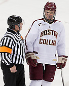 Tim Benedetto, Brooks Dyroff (BC - 14) - The University of Massachusetts Lowell River Hawks defeated the Boston College Eagles 4-2 (EN) on Tuesday, February 26, 2013, at Kelley Rink in Conte Forum in Chestnut Hill, Massachusetts.
