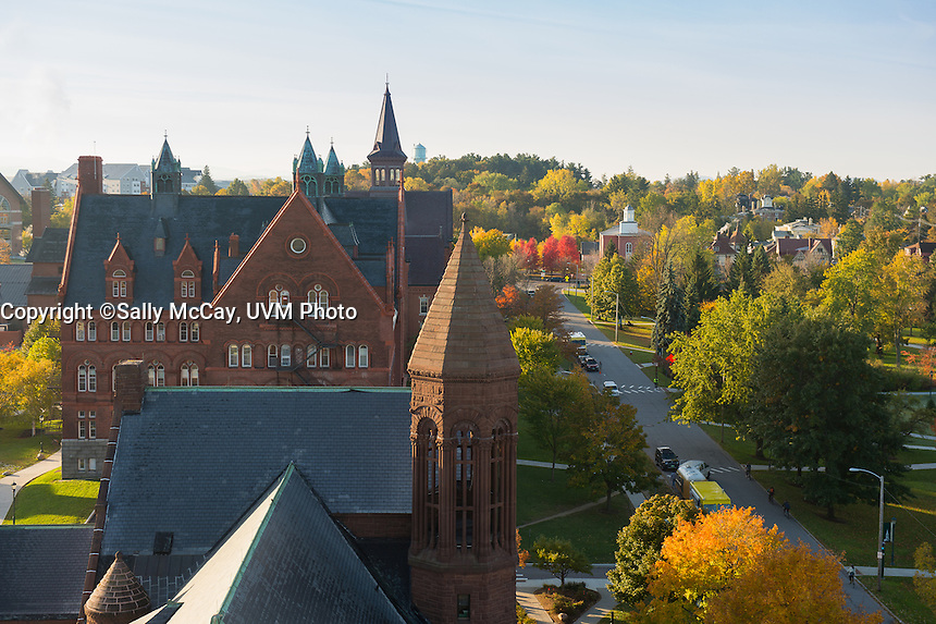 View of University Place from Ira Allen, Fall UVM Campus