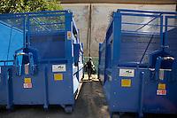 Isola di Pianosa. Pianosa Island.Raccolta rifiuti. Waste collection.Compattatori per rifiuti.