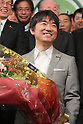 "November 27, 2011, Osaka, Japan - Toru Hashimoto, the leader of the political group ""One Osaka (Osaka Ishin no Kai),"" celebrates during a news conference in Osaka, western Japan, on Sunday, November 27, 2011, after he won the mayoral election in Osaka. Osaka held unprecedented mayoral and gubernatorial double elections today that will likely determine the future of the country's second-biggest city. (Photo by Akihiro Sugimoto/AFLO) [1080] -ty-"
